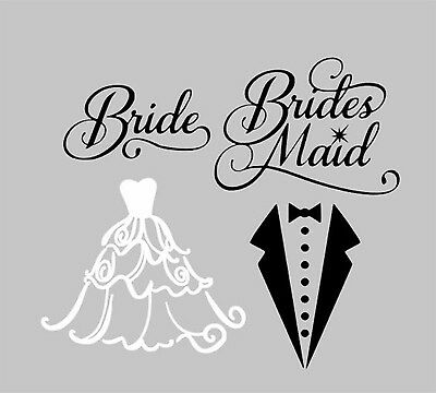 Bridesmaid and bride Decal stickers for wine glasses ect