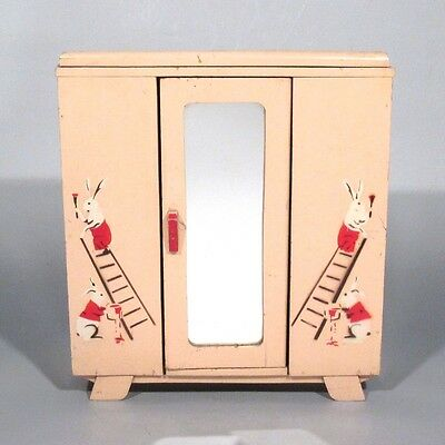 Vintage French Art Deco Wooden Doll Furniture Armoire, Pink, Mirror, Rabbits