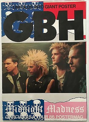 GBH Midnight Madness Official USA Tour 1986 Giant poster mag.  Punk Rock
