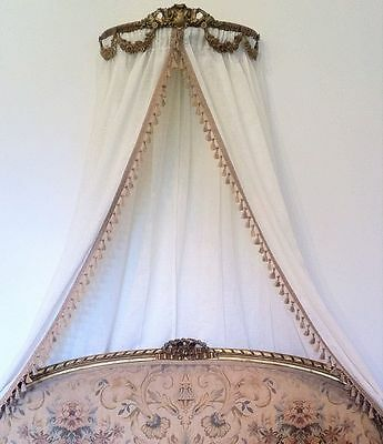 Antique Ornate Ciel Ceil De Lit Gold Bed French Crown Double Frame Canopy Gilt