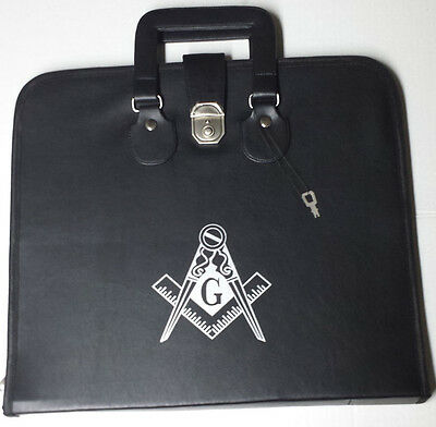 Masonic Regalia Smart File Case For MM/WM Apron with Soft Handle in Black with G