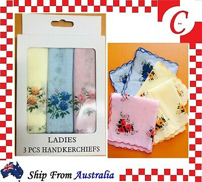 6PC Womens Ladies HANDKERCHIEFS 100% Cotton Pocket Square Hanky Handkerchief New