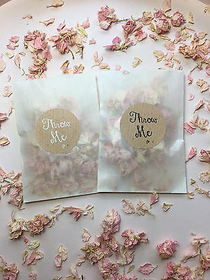 Glassine Bags & Throw Me Stickers Rose Petal Biodegradable Confetti Pink & Cream