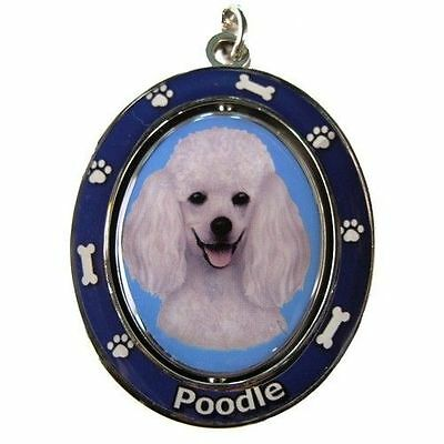Poodle White Dog Spinning Key Chain Fob