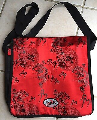 Mythwear Messenger or Laptop Bag Embroidered Japanese Dragon Eye Candy Faux Silk