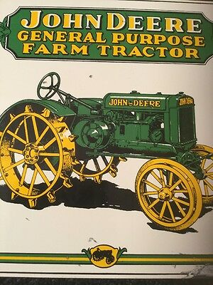 "Vintage ""john Deere General Purpose Farm Tractor"" 10"" Porcelain Gas & Oil Sign!!"