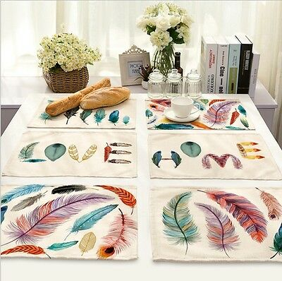 Feather Printed Kitchen Insulation Bowl Placemats Dining Pad Western Table Mats