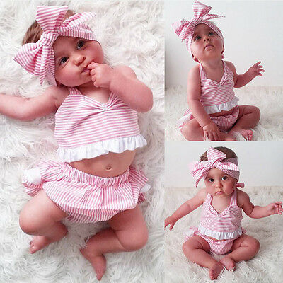USA Newborn Toddler Baby Girls Outfit Clothes Romper Jumpsuit Bodysuit+Pants Set