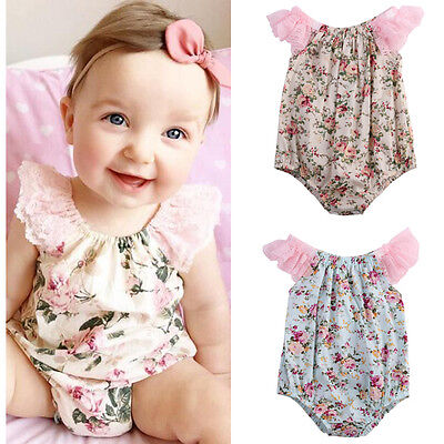 UK STOCK Newborn Baby Girl Bodysuit Lace Floral Romper Jumpsuit Outfits Clothes