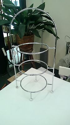 3 Tier Round Chromed Display Stand - Cake High Tea Seafood Etc