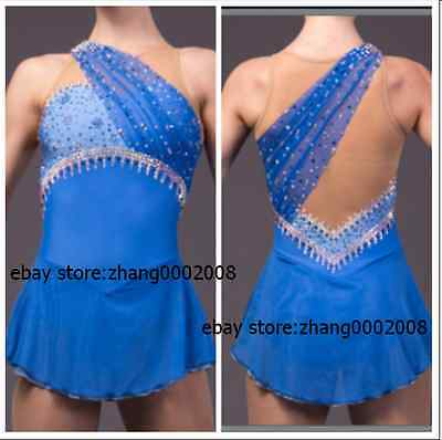 Ice skating dress. blue Competition Figure Skating dress.Baton Twirling custom