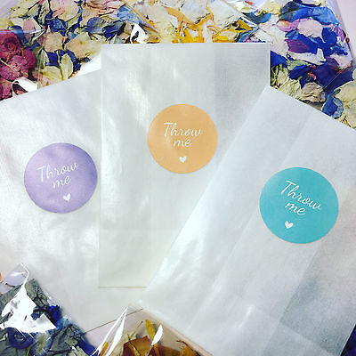 Glassine Bags & Throw Me stickers For Wedding Confetti Peach Blue Purple Pink