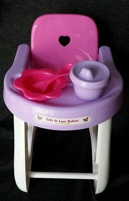 Lots To Love Babies Berenguer High Chair Set Plastic Toy Doll