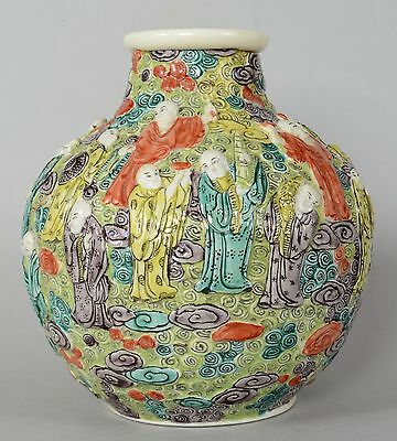 Antique Chinese Porcelain 18 Luohan Relief Vase Qing Dyansty