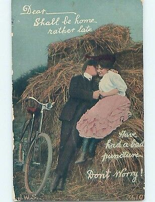 Pre-Linen signed ANTIQUE BICYCLE BESIDE COUPLE ON HAYSTACK HL4688