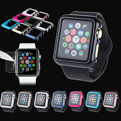 Tempered Glass Screen Protector + PC Bumper Case for Apple Watch iWatch 38/42mm