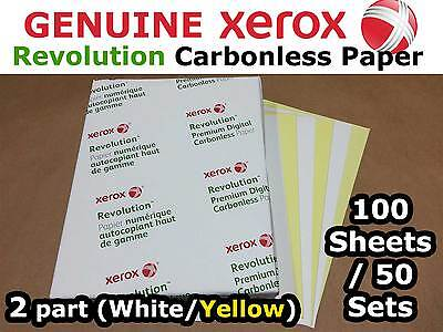 Two (2) Part Carbonless/NCR Paper 100 Sheets/50 Sets,  Xerox Brand, White-Yellow