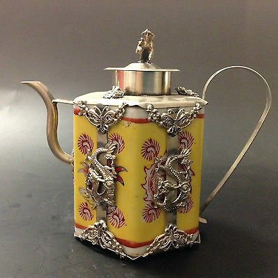 Chinese handwork inlay silver dragon cyan yellow porcelain teapot monkey lid