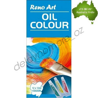 12 x 12ml Oil colour Set Quality Tubes paint Artist Box for School Kids Paints
