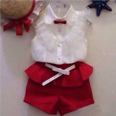 UK Baby Girls Party Lace Floral Tops Blouse Shirt+Shorts Pants Outfits Set 2-7Y