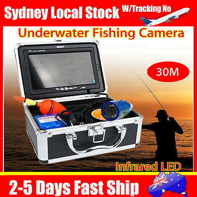 "AU! 30m 7"" LCD Infrared IP68 HD 1000TVL Underwater Fishing Video Cam Fish Finder"