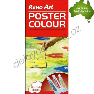 12 x 12ml Poster colour Set Quality Tubes paint Artist Box School Kids Paints