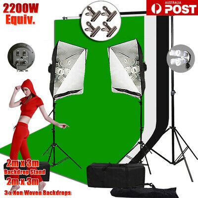 Photo Studio 4 Head Softbox Lighting Stand Kit+LARGE 2x3m Backdrop Support Set