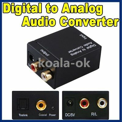 RCA Digital Optical Coax Coaxial Toslink to Analog Audio Converter Adapter hers