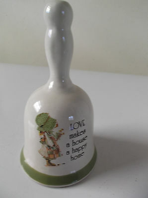 "Holly Hobbie Ceramic Bell ""love Makes A House A  Happy Home"""