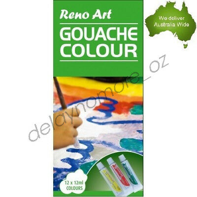12 x 12ml Gouache colour Set Quality Tubes paint Artist Box School Kids Paints
