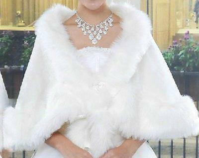 NEW Bride Shawl Cloak Fake Fur Shawl Stole Ivory Shrug Jacket Wedding Dress