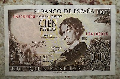 Spain, 100 Pesetas, 1965, 19th November, 1R6106055, MINT RARE PRINTING ERROR