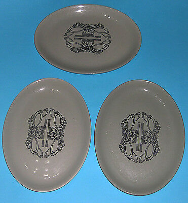 Maddock Royal Vitreous Pottery - Trio of large Oval Sage Green Designer Plates.