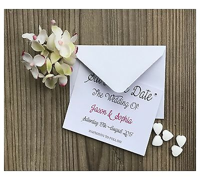 Personalised 50 x Magnetic Save The Date Cards & Envelopes