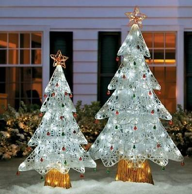 Sale Set Of 2 Led Lighted Pre Lit Snowy White Christmas Trees Outdoor Yard Decor