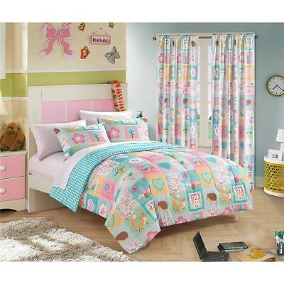Soft Cozy Girls Pink Turquoise Blue Forest Animals Owls Comforter Sheets Set