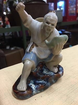 Vintage Collectable Chinese Mud man Figurine Fisherman Marked