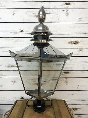 Vintage Stainless Steel Metal Garden Street Post Lantern Lamp Top Light 60cm