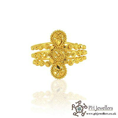 22ct 916 Hallmark Yellow Gold Size N Joint Spiral Ring PR27