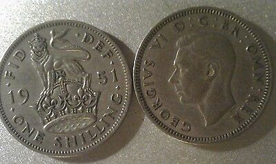 George VI Silver ENGLISH Shilling 1937 to 1951