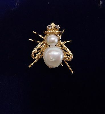 Miniature Bug Pendant/Brooch set with Cultured Pearls & Diamonds