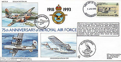 """1993 """"Royal Air Force"""" Ascension Island illustrated flown First Day Cover"""