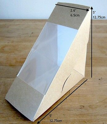 50 Sandwich Wedge Takeaway Boxes Natural Kraft Standard Fill Cafe Lunch Food