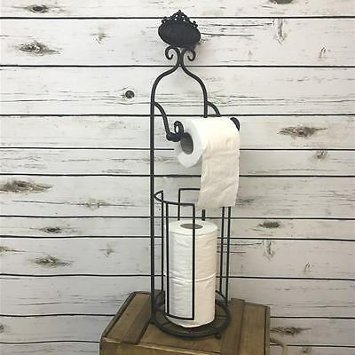 New Black Free Standing Shabby Chic Bathroom Paper Toilet Roll Storage Holder