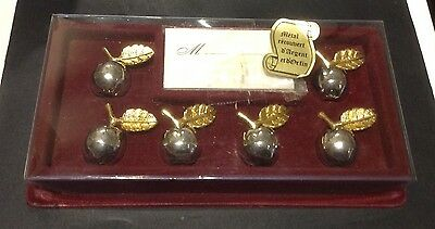 Vintage Set - 6 Cute French Metal Apples, Place Card Holders Silver Gold Plated