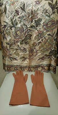 stunning vintage silk scarf and mid length gloves size6.5