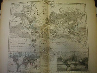 Antique Stieler's Hand Atlas World map 1878 air currents and the sea waves Gotha