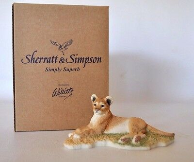 Sherratt & Simpson Lion Cub Resin Figurine 89527 Lying Down Retired Rare