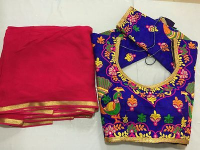 indian SARI EMBROIDERY READYMADE CHOLI blouse 3/4 sleev Georgette saree