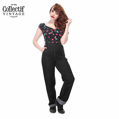Collectif wide leg high waisted Ladies jeans 1950's Classic Vintage Rockabilly